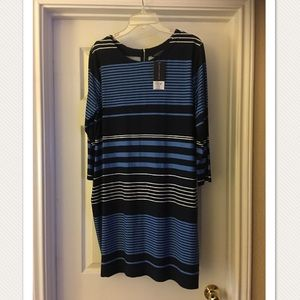NWT! Dorothy Perkins Navy Striped Shift Dress